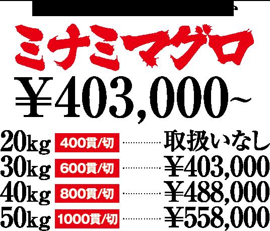 ミナミマグロ価格表